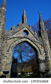 A view of the old stone entrance gateway at Taymouth Castle in Kenmore in rural Perthshire.