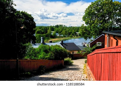 View for old street in Porvoo, old finland town on Porvoonjoki river in Scandianavia