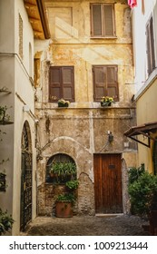 view of the old streets of Trastevere in Rome Italy