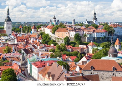 View of the old Tallinn from the highest observation deck Saint Olaf Church