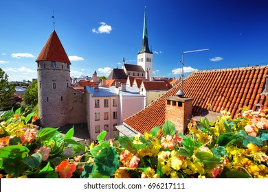 View to old Tallinn in middle summer