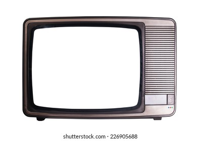 View of old television isolated on white background