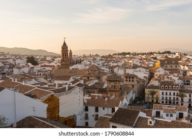 View of Old town of Antequera at dusk. Andalusia, Spain