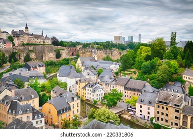 View of the old town area in Luxembourg City - a popular tourist destination in Europe.
