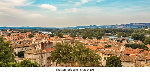 View of the Old Town, Avignon, France.