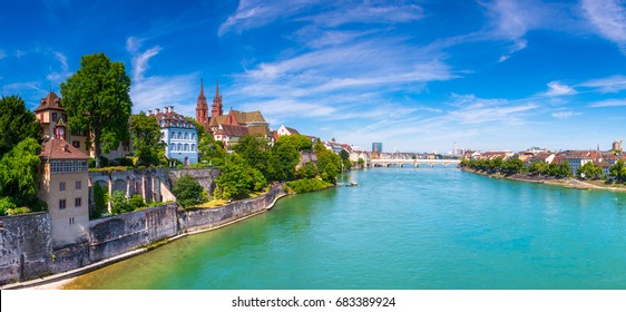 View of the Old Town of Basel with red stone Munster cathedral and the Rhine river, Switzerland.