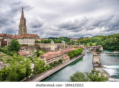 View of the old town of Bern and the Bern Minster from the Kirchenfeld bridge over the Aare river