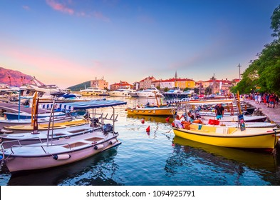 View of old town in Budva and port at sunset, Montenegro