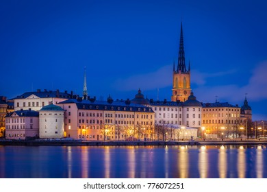 View of the old town by night and the Riddarholmen church, Stockholm, Sweden