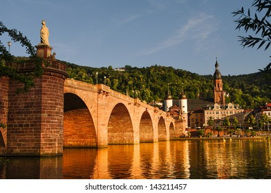 View at old town, castle and city bridge in Heidelberg, summer 2012