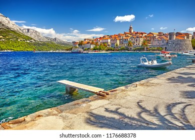 The View at old town center in Korcula, popular touristic destination in Mediterranean, Croatia Europe