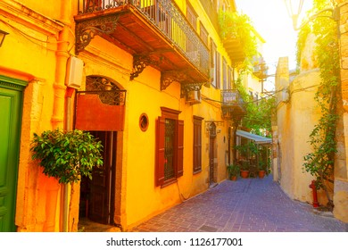 View of old town in Chania, Crete in greek in beautiful evening light at sunset with retro vintage.