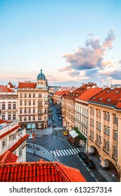 The view of the old town, Charles bridge from the Church of St. Nicholas, sunset, Prague, Czech Republic