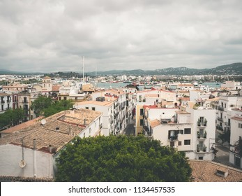 View of the old town of Dalt Vila, and the bay of Ibiza, Spain