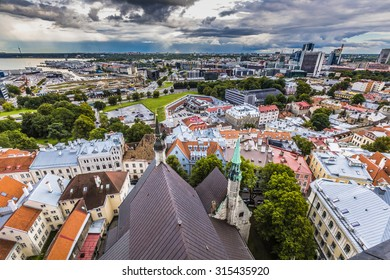 View of the old town with dramatic clouds. Tallinn, Estonia, Europe