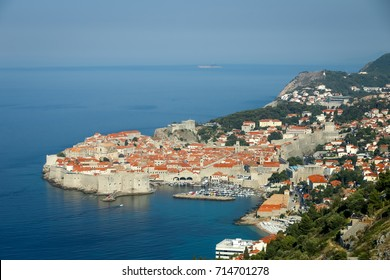 A view of the old town of Dubrovnik from the Srd mountain in Croatia.
