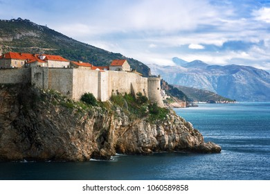 View of the old town and fortification wall in Dubrovnik on a sunny winter day, Croatia