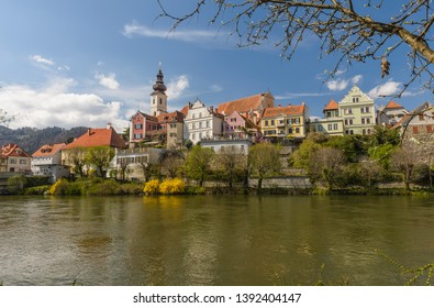 View of old town of Frohnleiten above Mur river, Styria, Austria