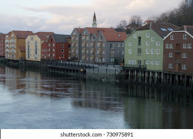 View of the old town from the Gamle bybro (old town bridge). Trondheim, Norway.