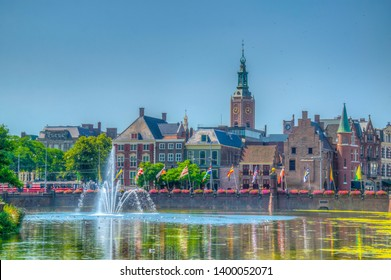 View of the old town of the Hague surrounding a pond next to the Binnenhof palace, Netherlands
