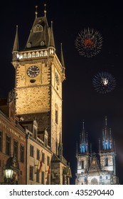 View of old town hall tower and church of Mother of God before Tyn church in Prague at night. Copy space in black sky.