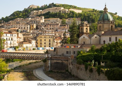 View of the Old Town and historic buildings and bridge in Cosenza, Calabria, Italy