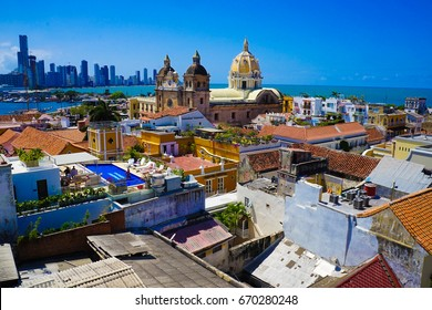 View Of Old Town Historic Centre Center Cartagena Colombia - UNESCO Site