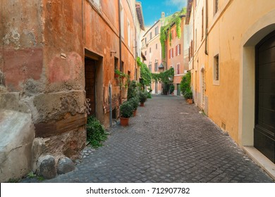 view of old town italian narrow street in Trastevere, Rome, Italy