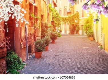 view of old town italian street in Trastevere with sunshine at spring day, Rome, Italy