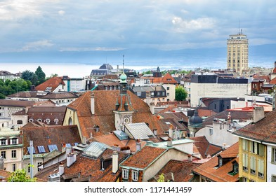 View old Town and Lake Geneva. Lausanne, Canton of Vaud, Switzerland