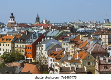 View of Old Town of the Lublin from a height on a sunny day. Poland
