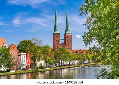 A view of the old town of Luebeck (German: Lübeck), Germany, with the Luebeck Cathedral (German: Dom zu Lübeck, or Lübecker Dom) across the river Trave.