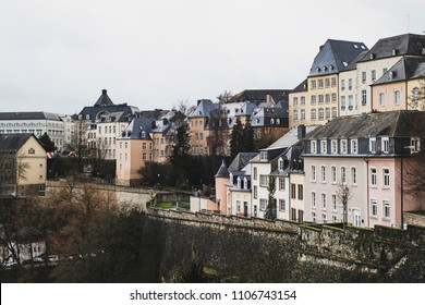 a view of the old town of Luxembourg City, in Luxembourg, with its typical houses with black slate roofs