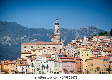 View of old town, Menton, Cote D'Azur, France