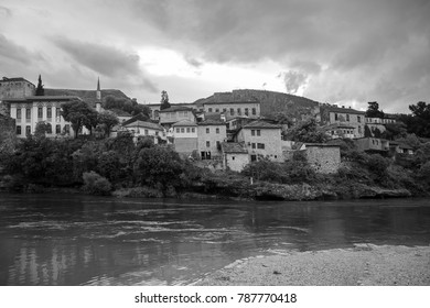 View of Old Town Mostar from the bank of Neretva River, Bosnia and Herzegovina.