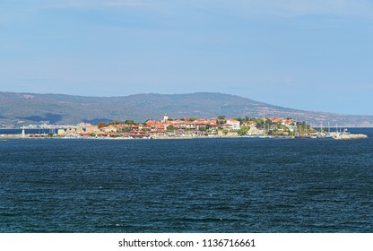 View of the Old Town of Nessebar from sea, Bulgaria. Nessebar is an ancient town and one of the major seaside resorts on the Bulgarian Black Sea Coast.