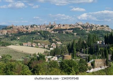 View of the old town of Orvieto, Umbria, Italy with the Duomo Cathedral of Orvieto on the horizon