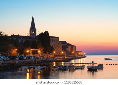 View of the old town of Porec in Croatia in the evening
