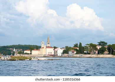 View of the old town of Porec from a ship from the sea