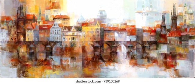 View of the old town in Prague. Acrylic painting.