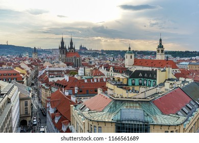 View of the old town of Prague in the evening