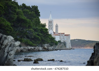 View of the old town of Rab, Croatian tourist resort famous for its four bell towers.