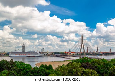 View of the old town in Riga, Dvina and Cruise ship
