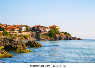 View to the old town of Sozopol on the Black sea coast, Bulgaria.