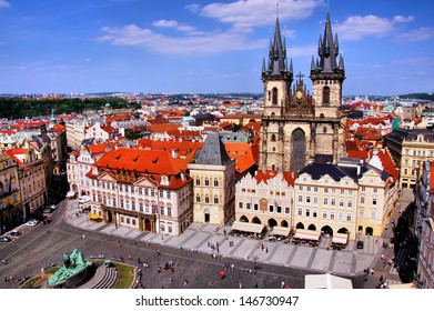 View of Old Town Square, Prague with Tyn Church