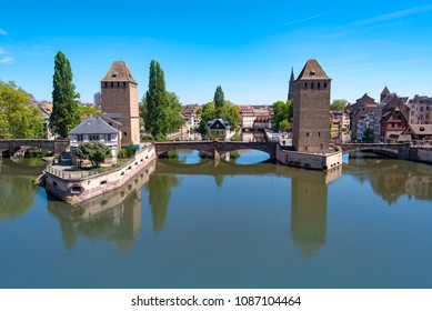 View to the Old Town of Strasbourg and Vauban Dam in France