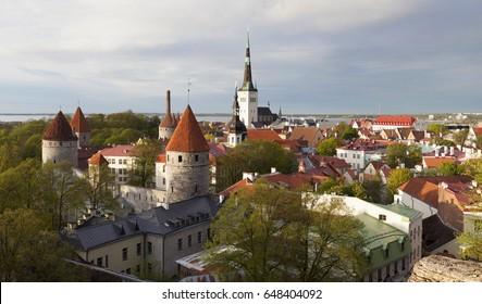 View at old town of Tallinn at spring. Estonia, Europe.
