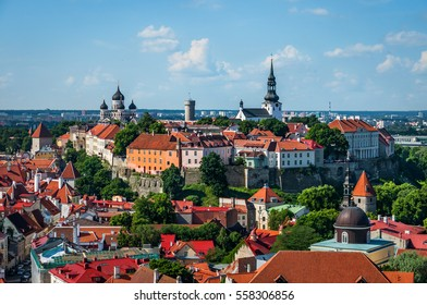 View of the Old Town of Tallinn from St. Olaf's Church Tower. Tallinn, Estonia.