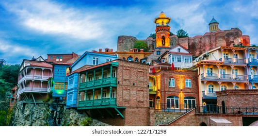 View of the Old Town of Tbilisi, Georgia after sunset
