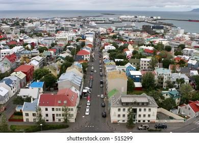 Iceland Sky view of Reykjavík city Old Photo